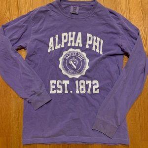 Alpha Phi Comfort Colors Long sleeve purple small